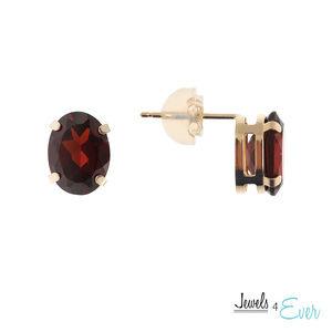 10K Gold Stud Earrings with Genuine Garnet